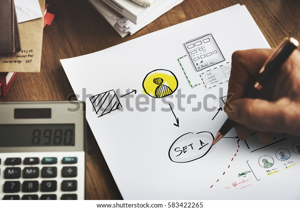 Business startup process drawing sketch