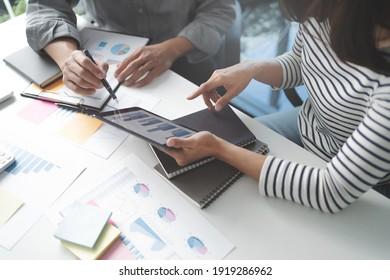 business startup team briefing plan project. creative startup business people group in office. - Shutterstock ID 1919286962