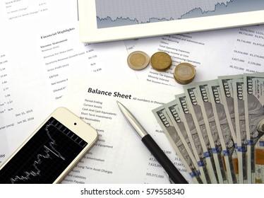 business statistics, balance sheet phone and money. Phone with chart