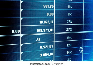 business statistics and data showing financial success