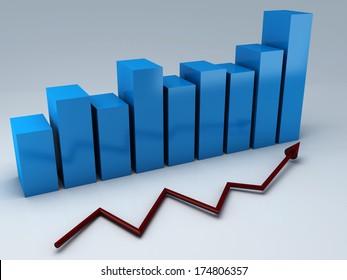 Business statistics graph, 3d render