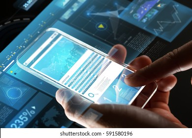 business, statistics, people and future technology concept - close up of businessman hands with charts on transparent smartphone screen and virtual projections over black background