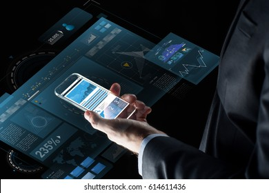 business, statistics, people and future technology concept - close up of businessman hand with charts on transparent smartphone screen and virtual projections over black background