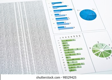 Business still-life with diagrams, charts and numbers