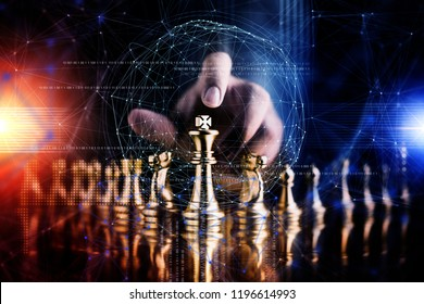 business strategy brainstorm chess board game with hand touch black background with free copy space for your text