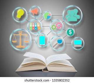 Business strategy concept above an open book