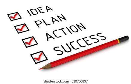 Business strategy: idea, plan, action, success. Red pencil and a checklist with red marks