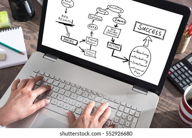 Business strategy improvement concept shown on a laptop screen