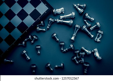 business strategy metaphor ideas concept with chess board game and free copy space