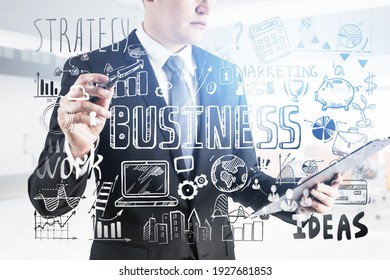 Business strategy plan and man painting on a glass, doodle sketch set. Business finance chart graph, success achieving and confidence
