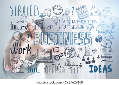 Business strategy plan and man pointing a finger, doodle sketch set. Business finance chart graph, success achieving and confidence
