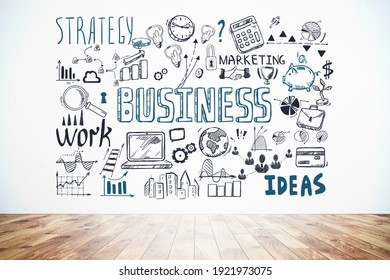 Business strategy plan on concrete wall, doodle sketch set in office room with wooden floor. Business finance chart graph, success achieving