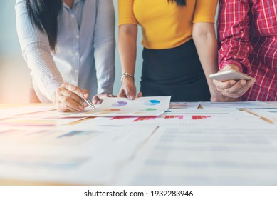 Business strategy team report chart, graph, infographic data analyze financial report plan. Hands team partner planning marketing finance statistics sale report with excel spreadsheet accountting