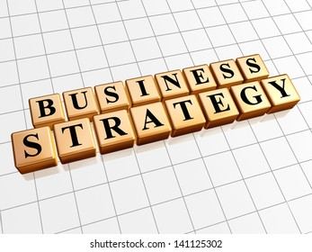 business strategy - text in 3d golden cubes with black letters, business growth concept