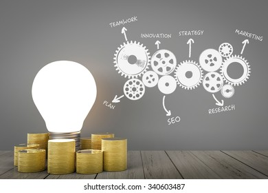 business success concept with light bulb