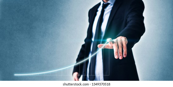 business success concept, man pointing on chart