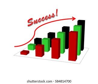 Business success concept show graph picture success increase