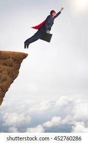 business success concept superhero businessman flying