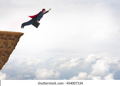 business success concept superhero businessman flying