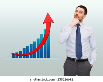 business, success, economics and people concept - thinking young businessman with growth chart over gray background