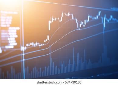 Le concept de réussite commerciale et de croissance des marchés financiers. Graphique d'affaires sur écran numérique. Prix des actions avec le suivi des stocks de chandelles pour le marché Forex, le marché de l'or et le marché du pétrole brut.
