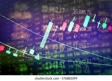 Business success and Financial market growth concept. Stock business graph chart on digital screen. Stock Prices and Candle stick stock tracking for Forex market, Gold market and Crude oil market.