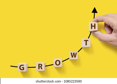 Business success growing growth increase up concept. Wooded cube block on white background with word GROWTH and copy space for your text
