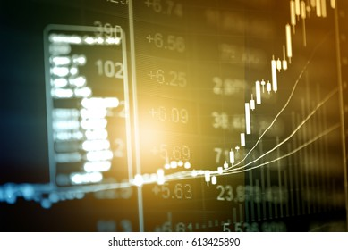 Business success and growth concept. Candle stick graph chart for trading in Forex market, Gold market and Crude oil market.