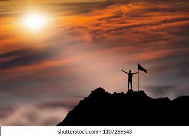 Business, success, leadership, achievement, attempt, patient, endeavor and people concept - silhouette of mountaineer with flag on mountain top over sunset background