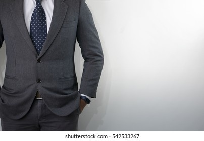 business suit with white wall