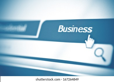 Business tab on website. Closeup of computer screen.