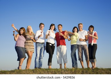 Business team of 8 person spending beautiful summer day off together