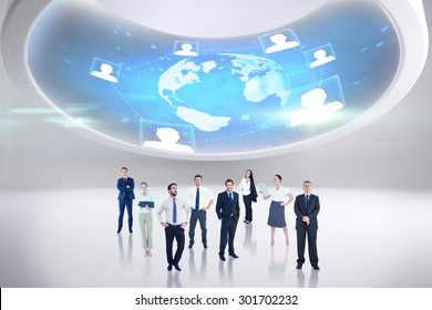 Business team against futuristic technology interface