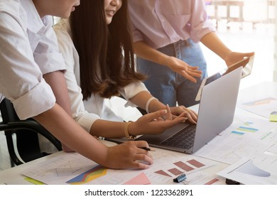 Business team analyzing financial documents