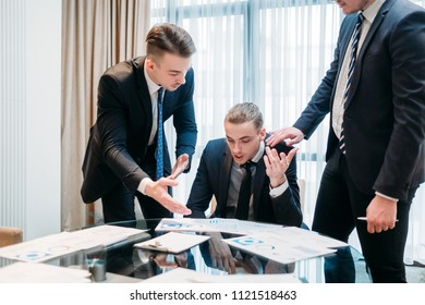 business team argument debate. statistics papers lively discussion. executives or managers review report documents with graphs and diagrams