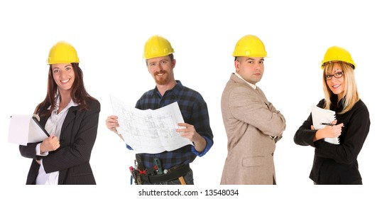business team with blueprint and documents on white background