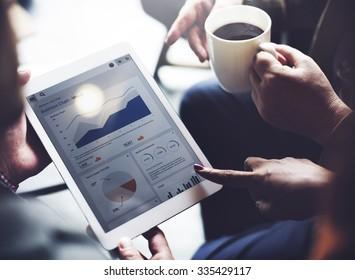 Business Team Brainstorming Data Target Financial Concept