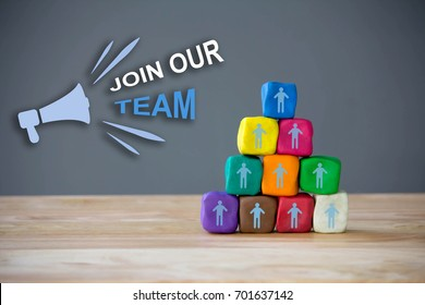 Business team building , Human Resource Management and Recruitment concept with megaphone and text Join Our team