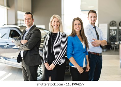 Business team car seller on the car room