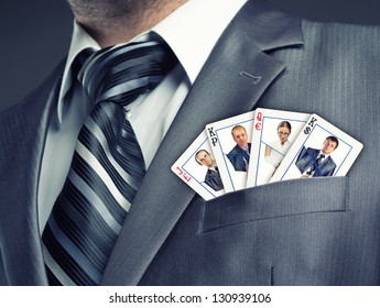 Business team cards in suit pocket