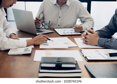 Business team colleagues meeting to conference professional investor working a new marketing business strategy project discussion and analysis data chart and graph, finance and accounting concept.