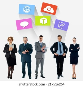 Business team, colorful icons over white