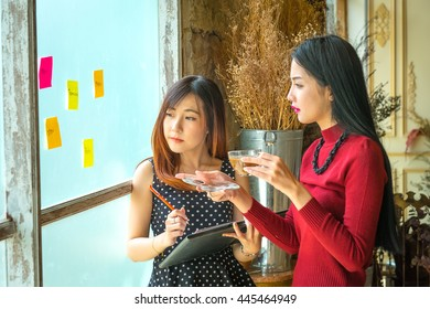 Business Team Corporate Marketing Working Concept And drinking hot coffee.