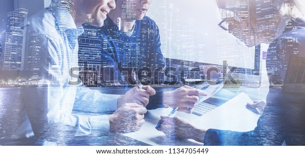 business team of coworkers working on startup in office, banner double exposure background of group of businessman people entrepreneurs