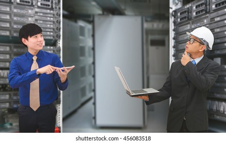 Business team in data center room