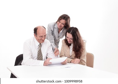 business team discussing a working paper