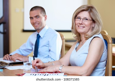 Business team during meeting, conference room shoot