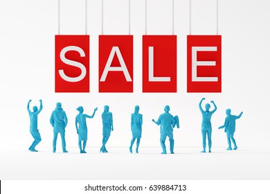 "business team feeling happy looking at ""SALE"" word on white background. business minimal concept. 3D Render."