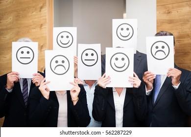 Business Team Feeling Sad, Happy Or Neutral