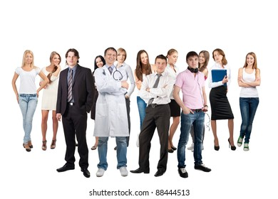 Business team formed of young businessmen and businesswomen standing over white background